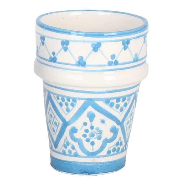 Marokkanische Keramik Tasse Sakina blau weiss