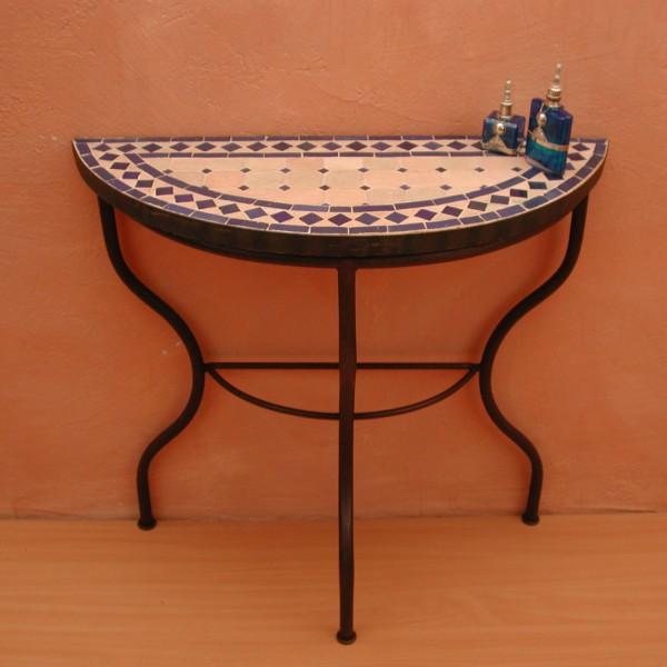 Mosaiktisch / Halbrund 80cm Blau-Terracotta