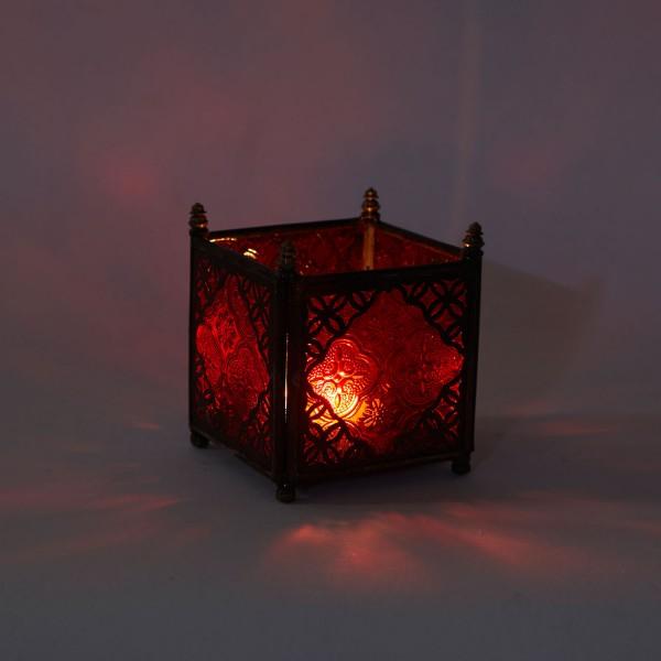 Orient Glas-Windlicht Rot