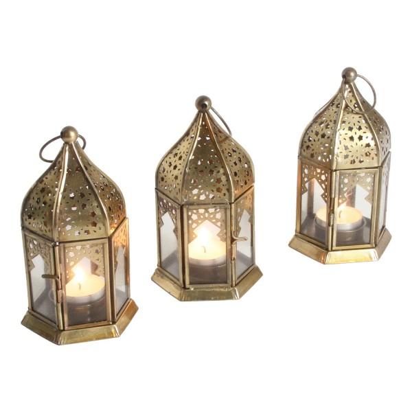 Orientalische Glas-Windlichter Nael Transparent 3er Set