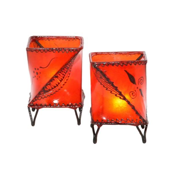 2 Stück Leder Windlichter Louza Orange
