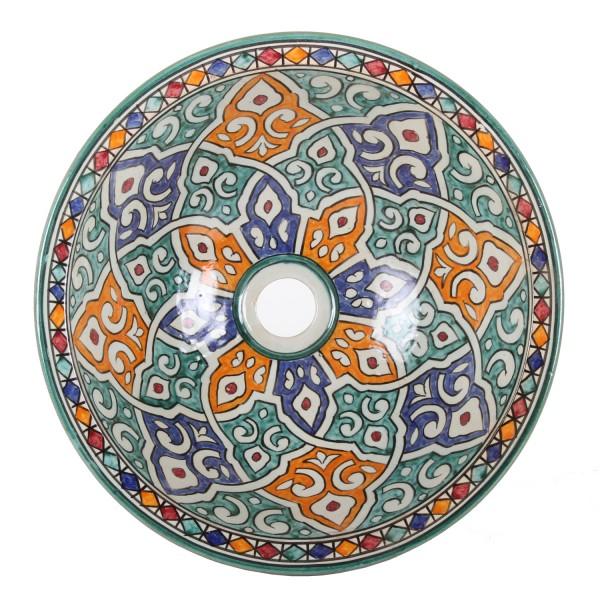 Orientalisches-Handbemaltes-Keramik-Waschbecken Fes63