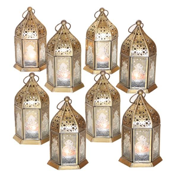 Orientalische Glas-Windlichter Nael Weiss im 8er Set
