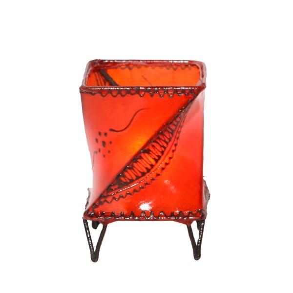 Leder-Windlicht Louza Orange