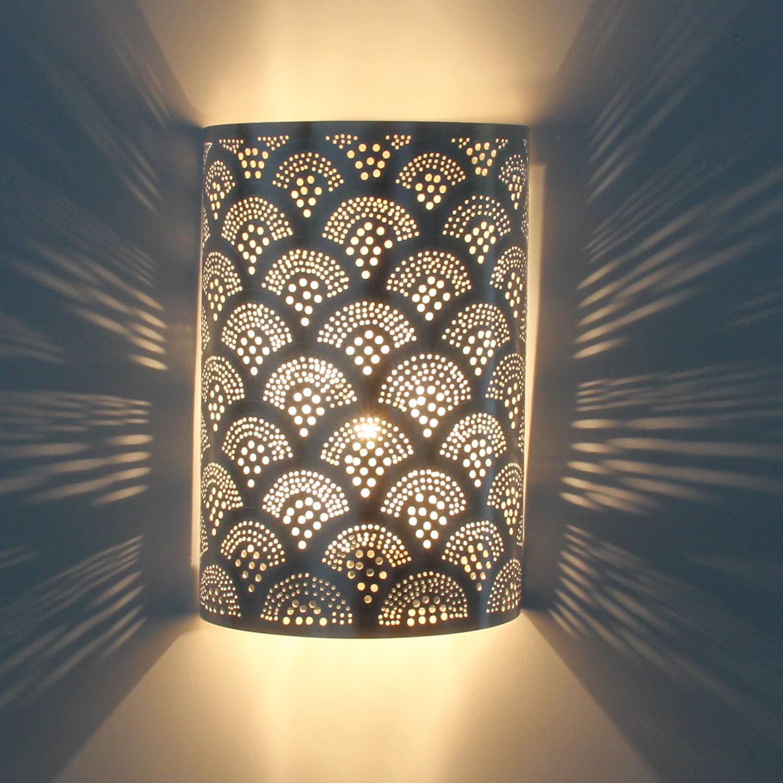 Marokkanische Wandlampe Kassim Silber versilberte Lampe Wandleuchte orientalisch