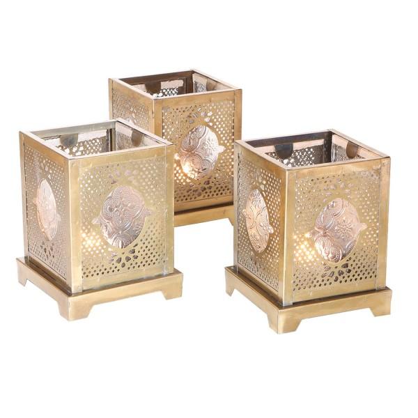 Orientalische Glas-Windlichter Mahir 3er Set