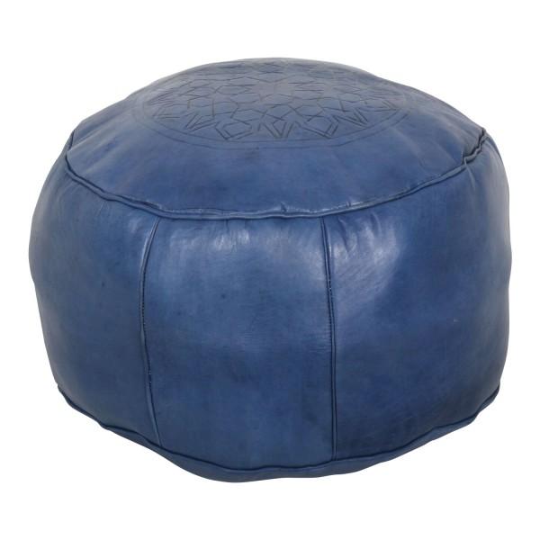 Marokkanische Leder Sitzkissen Asli navy blau