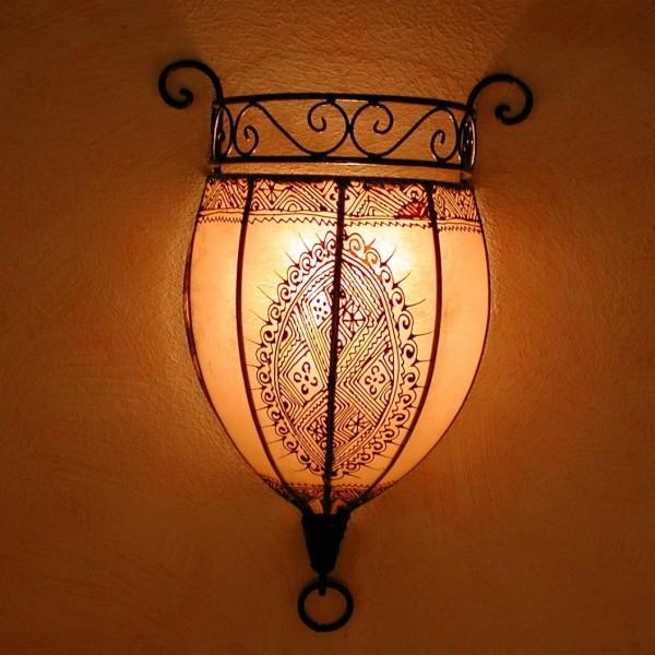 Henna-Leder-Wandlampe Nakous Weiß