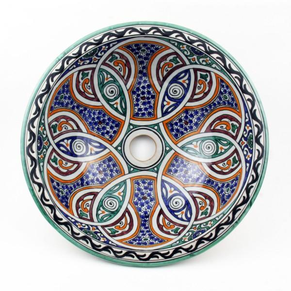 Orientalisches-Handbemaltes-Keramik-Waschbecken Fes125