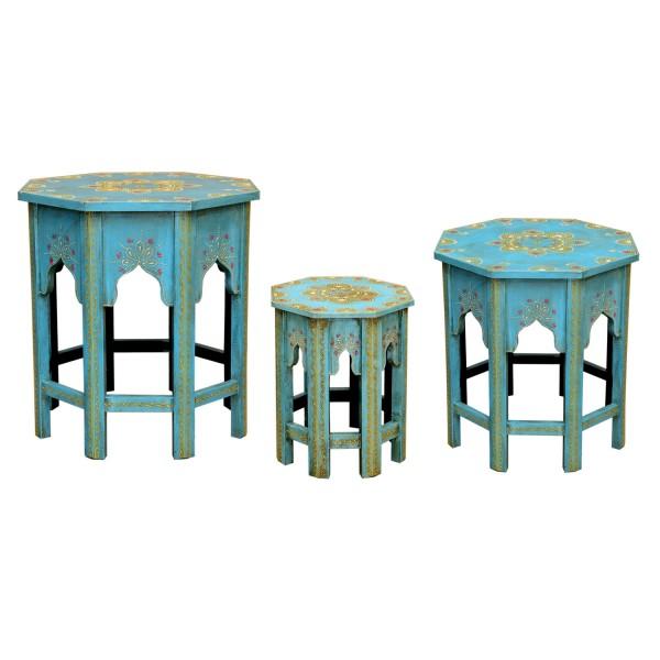 Orientalische Beistelltische Saada Blau im 3er Set