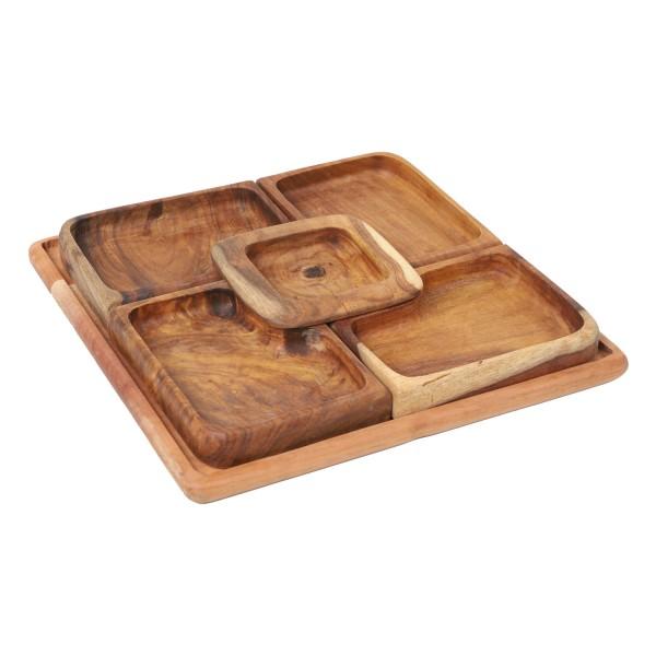 Orientalische Holzschalen Kaya21 im 5er Set mit Tablett