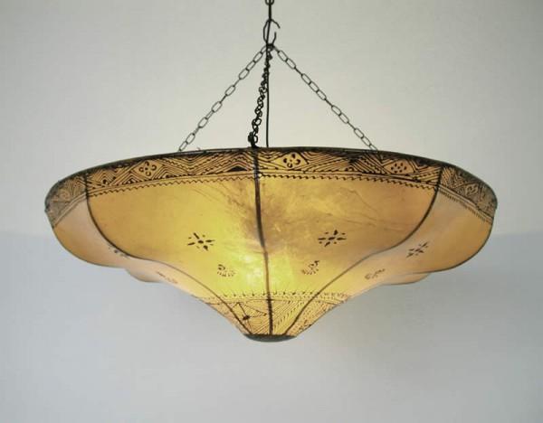 Henna-Leder-Deckenlampe Karima Weiß