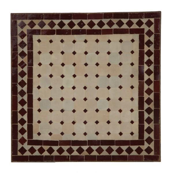 Mosaiktisch 45x45 Bordeaux-Raute