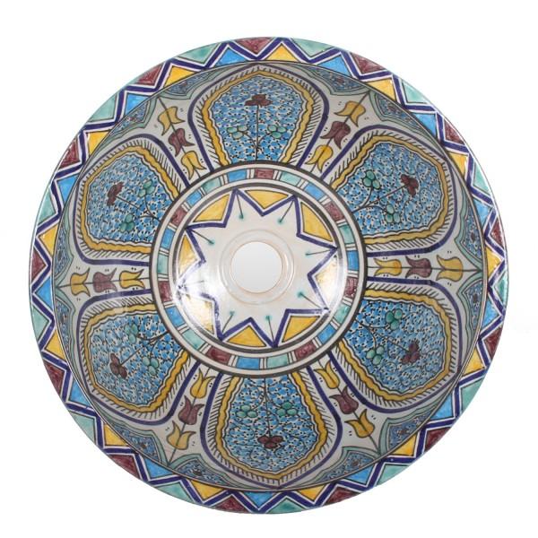 Orientalisches Handbemaltes Keramik Waschbecken Fes107