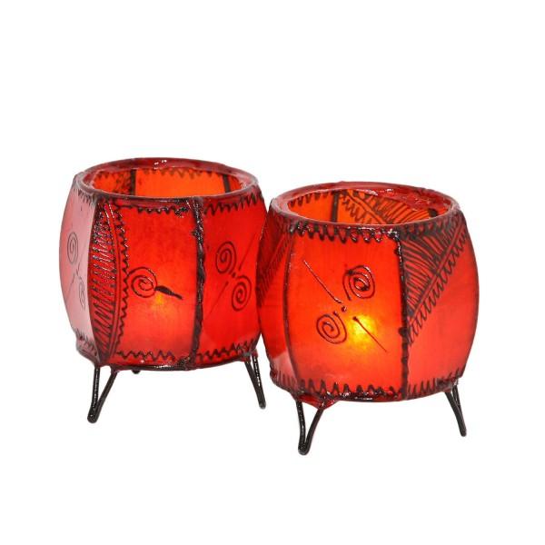 2 Stück Leder Windlichter Kura Orange
