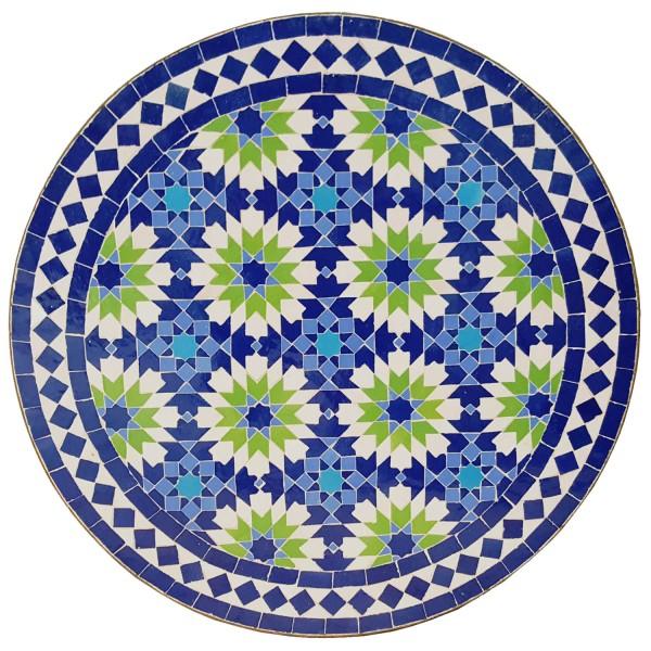 Mosaiktisch Rund Ankabut-Blau