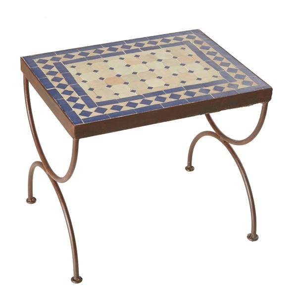 Mosaik-Beistelltisch L44 Blau/Terracotta