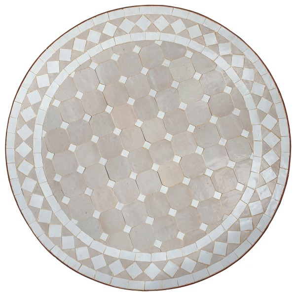 Mosaiktisch D60 Weiss/Raute Glasiert