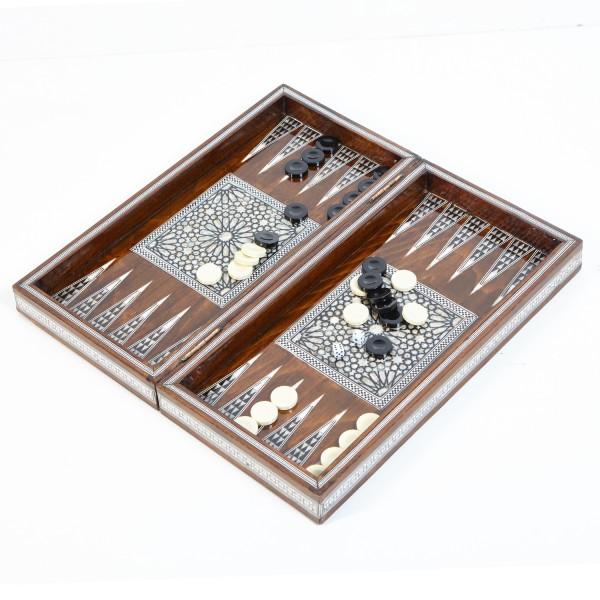 Ägyptisches Backgammon Braun Gross mit Perlmutt