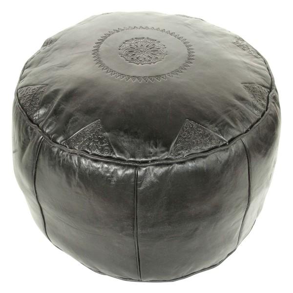 Marokkanisches Leder Sitzkissen Rbati Schwarz gross