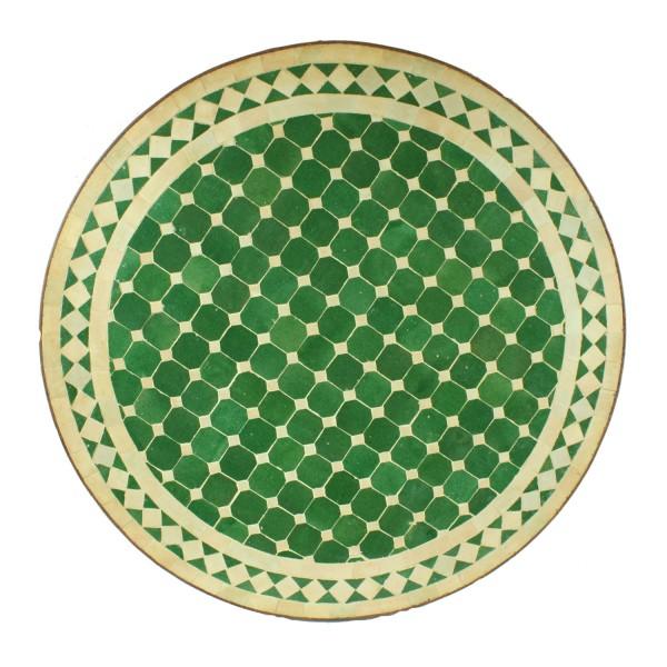 Mosaiktisch aus Marokko - Rund - Grün weiss glasiert - M60-30