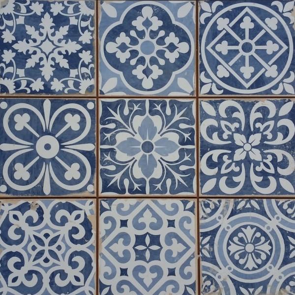 Marokkanische Fliesen Rahel Blau Patchwork