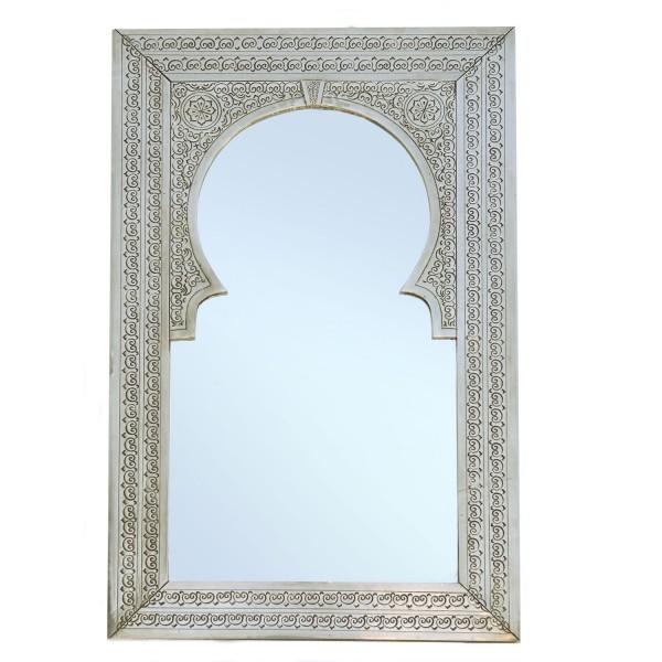 Orientalischer Messingspiegel Silber Olfa 90x55