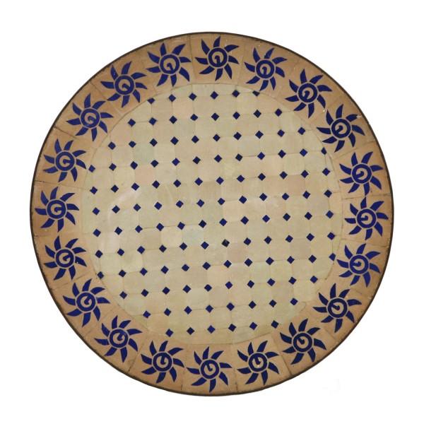 Mosaiktisch D80 Rund Blau Sonne