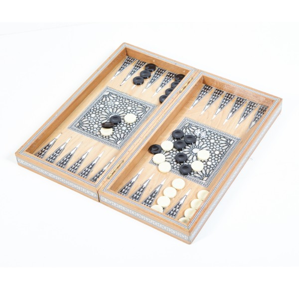 Ägyptisches Backgammon mit Perlmutt Natur