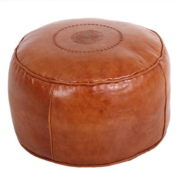 Orientalische Leder-Sitzkissen Rachida Hellbraun