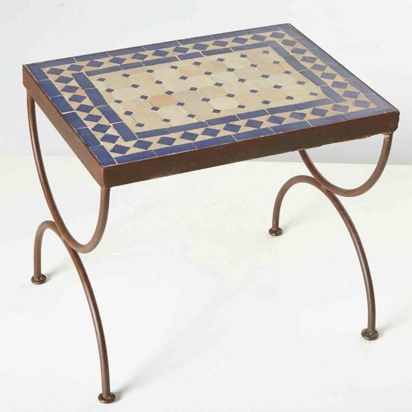 Mosaik-Beistelltisch L50 Blau/Terracotta