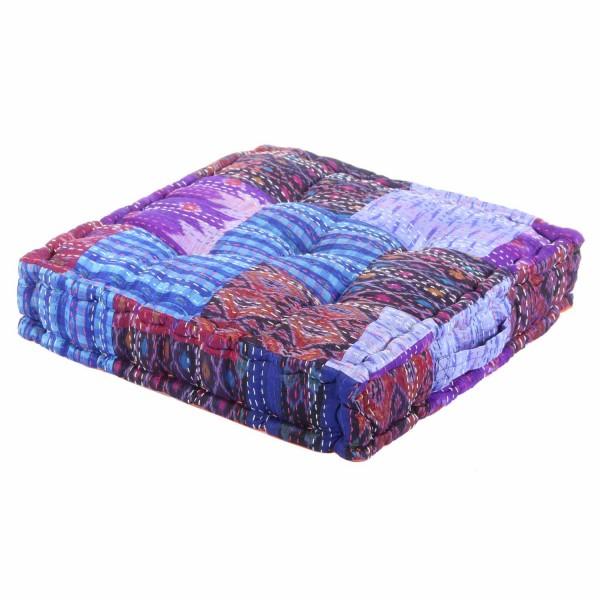 Patchwork Sitzkissen Blau-Lila