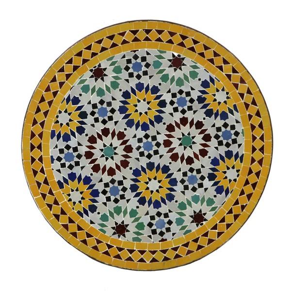Mosaik Bistrotisch Rund 70 cm Ankabut Gelb