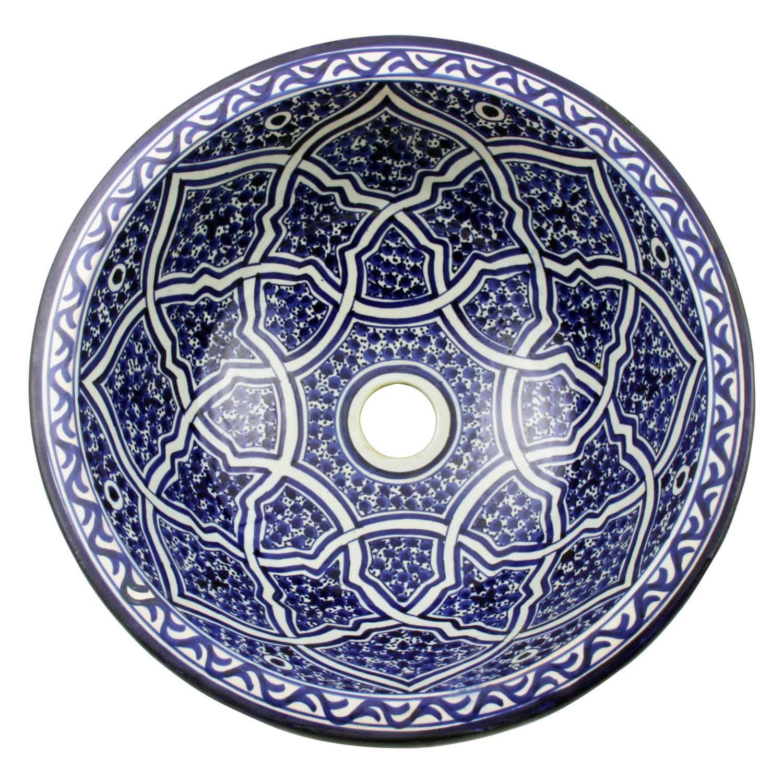 Marokkanisches Handwaschbecken f/ür K/üche Badezimmer G/äste-Bad WB35126 Einfach sch/öner Wohnen Casa Moro Orientalisches Keramik-Waschbecken Fes126 /Ø 35 cm handbemalt