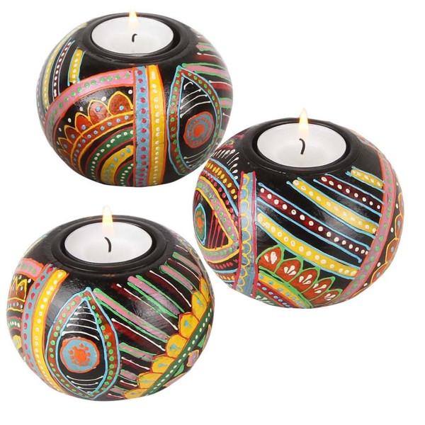 Orientalische handbemalte Teelichthalter Aicha 3er Set