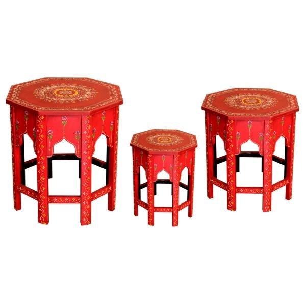 Orientalische Beistelltische Saada Rot im 3er Set