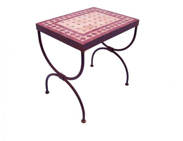 Mosaik-Beistelltisch L44 Bordeaux/Terracotta
