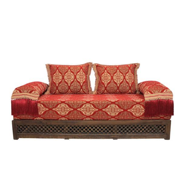Orientalisches Sofa Salma Rot 25 mit Gestell