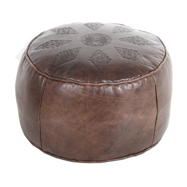 Orientalische Leder-Sitzkissen Rachida Braun
