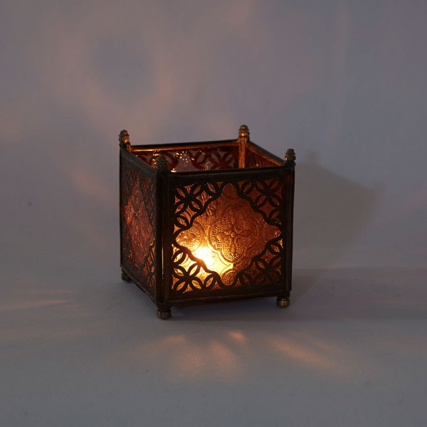 Orient Glas-Windlicht Amber