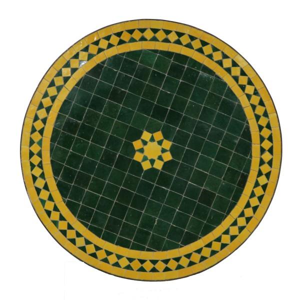 Mosaiktisch aus Marokko - Stern-Grün-Gelb - Rund -M60-20
