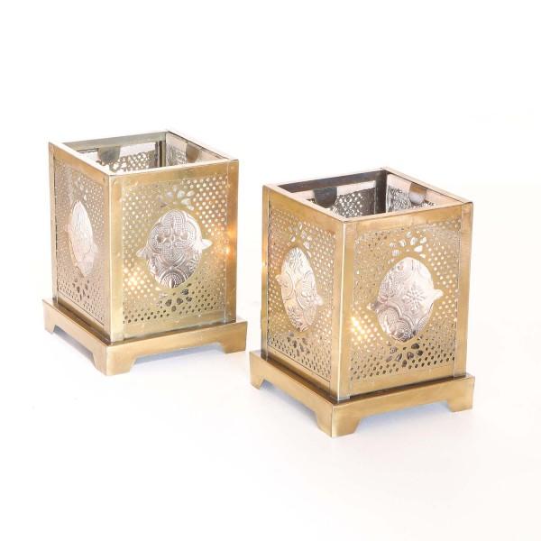Orientalische Glas-Windlichter Mahir 2er Set