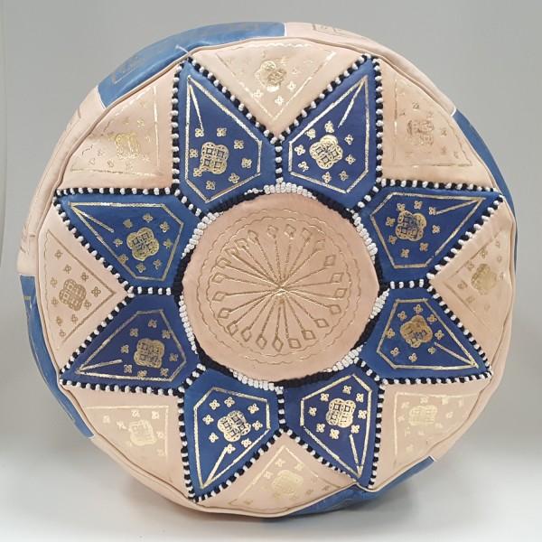 Marokkanisches Leder Sitzkissen Nejma Hellblau