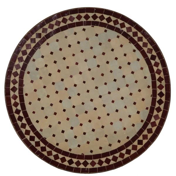 Mosaik Bistrotisch Rund 70 cm Bordeaux/Raute
