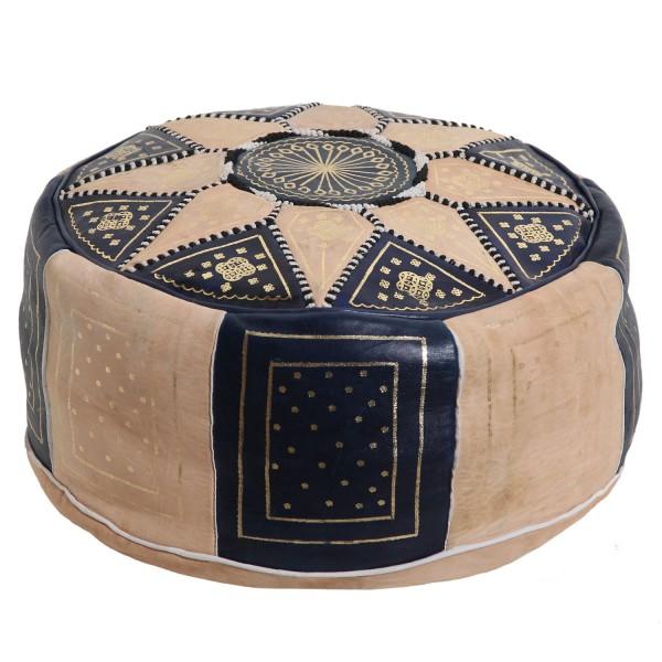 Marokkanisches Leder Sitzkissen Nejma Blau