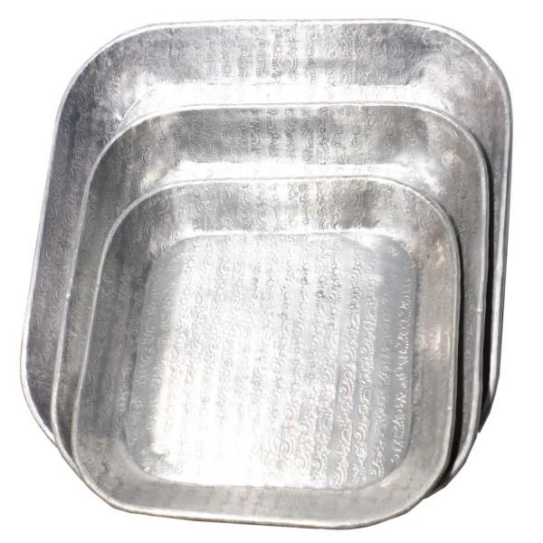 Silber Tablett Prisma 3er Set