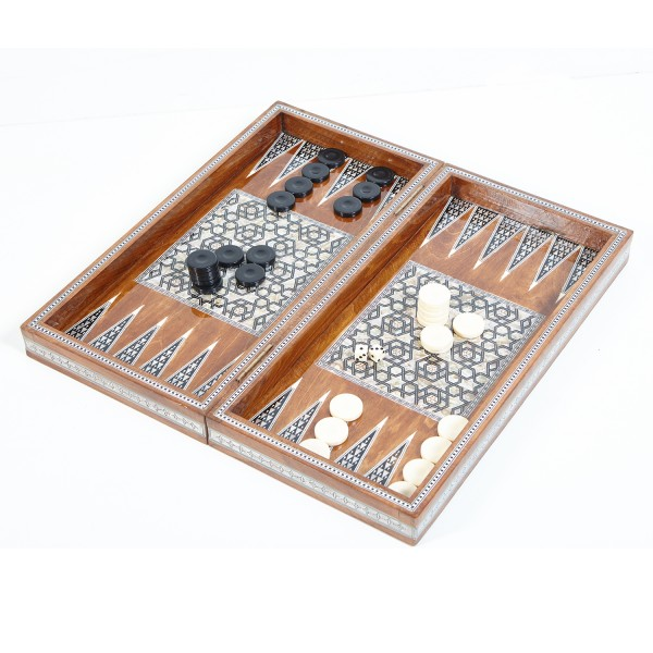 Ägyptisches Backgammon Hellbraun Gross mit Perlmutt