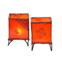 2 Stück Leder Windlichter Carre Orange