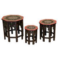 Orientalische Beistelltische Saada Schwarz im 3er Set