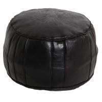 Marokkanische Leder Sitzkissen Asli Schwarz
